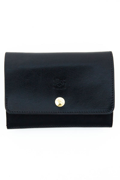 il bisonte black snap front card case