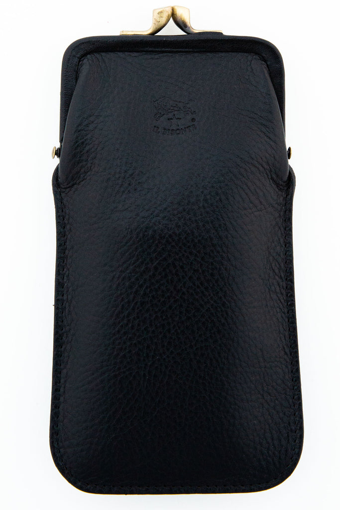 il bisonte black snap top eye glass case