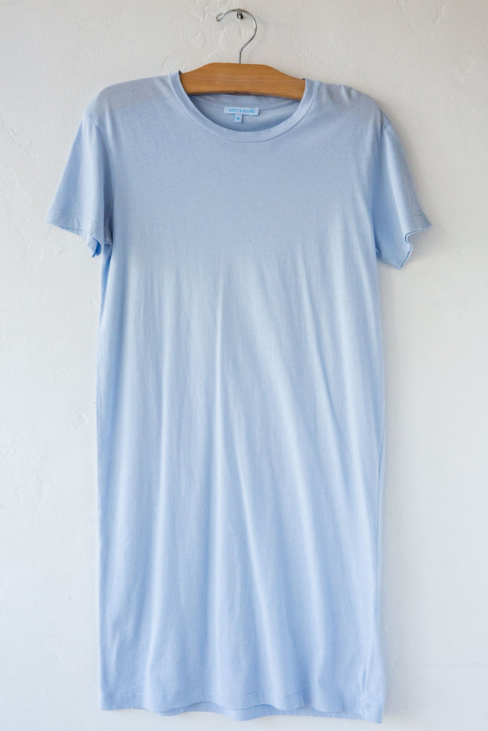 lost & found dust blue short sleeve tee dress