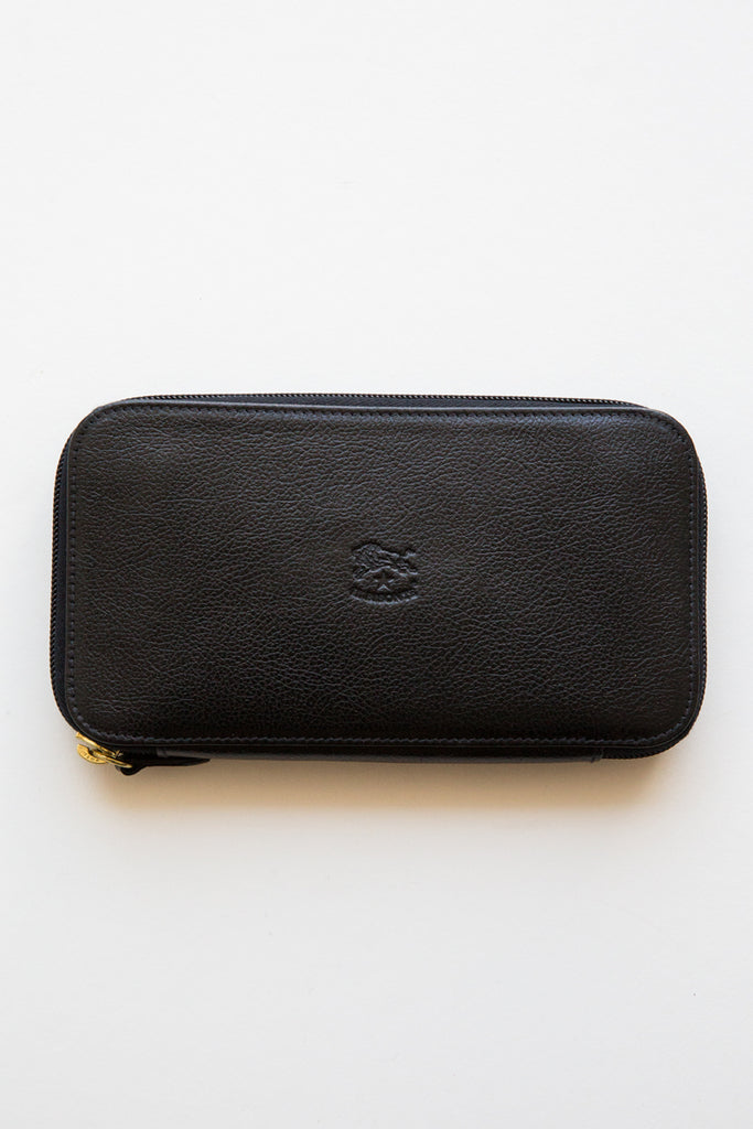 il bisonte black zip around baratti wallet
