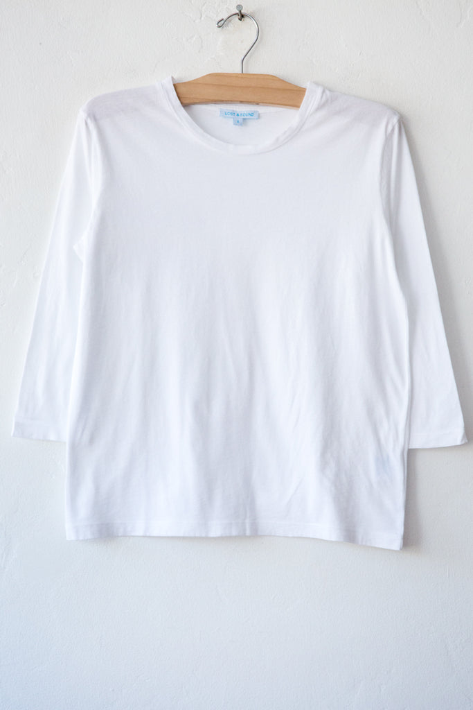 lost & found white 3/4 sleeve tee