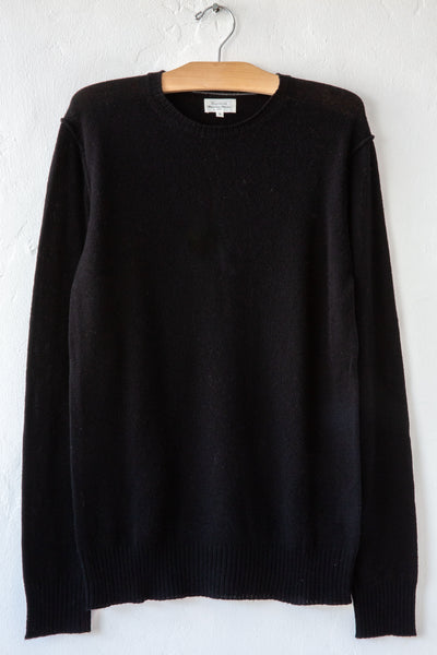 hartford black wool and cashmere crew sweater