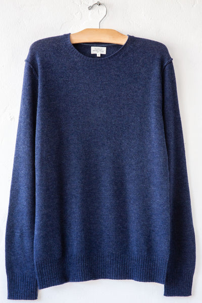 hartford indigo wool and cashmere crew sweater