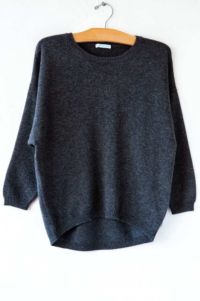 lost & found hematite 3/4 sleeve cashmere sweater