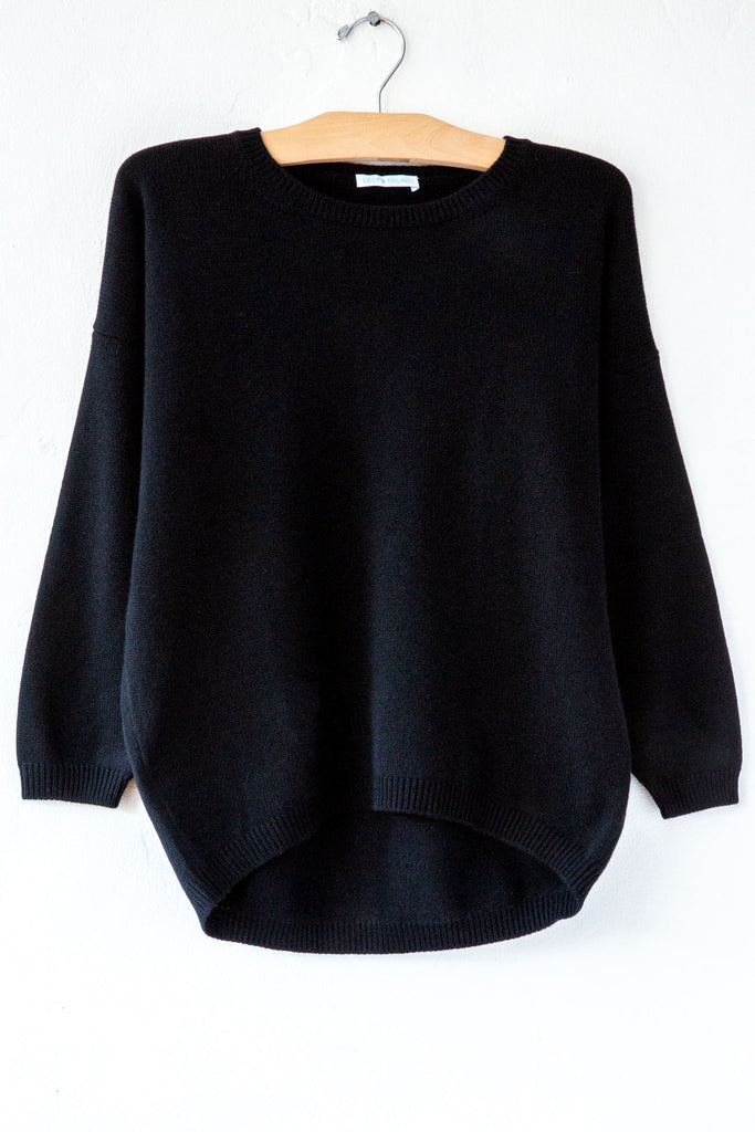 lost & found black 3/4 sleeve cashmere sweater