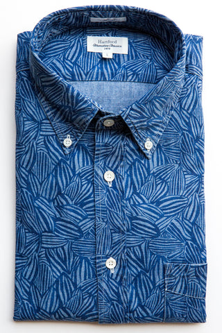 hartford indigo printed side shirt
