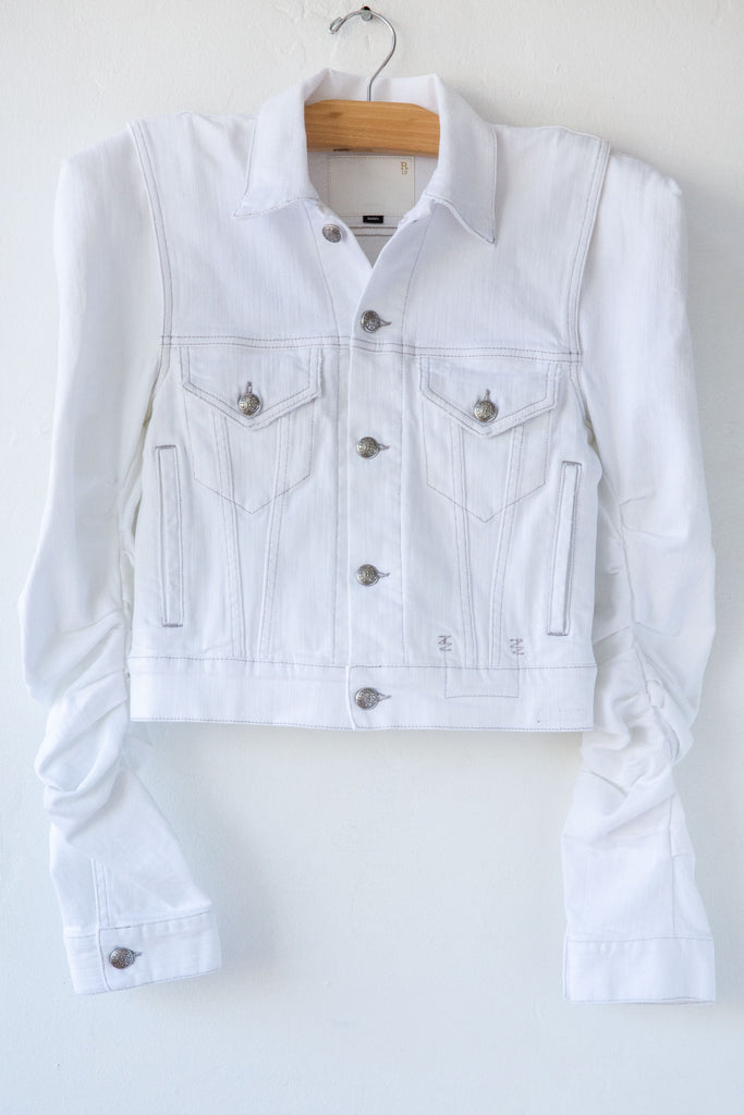 R13 White Kelsey Shirring Denim Jacket