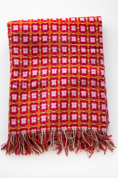 paulette rollo rasberry basket weave throw