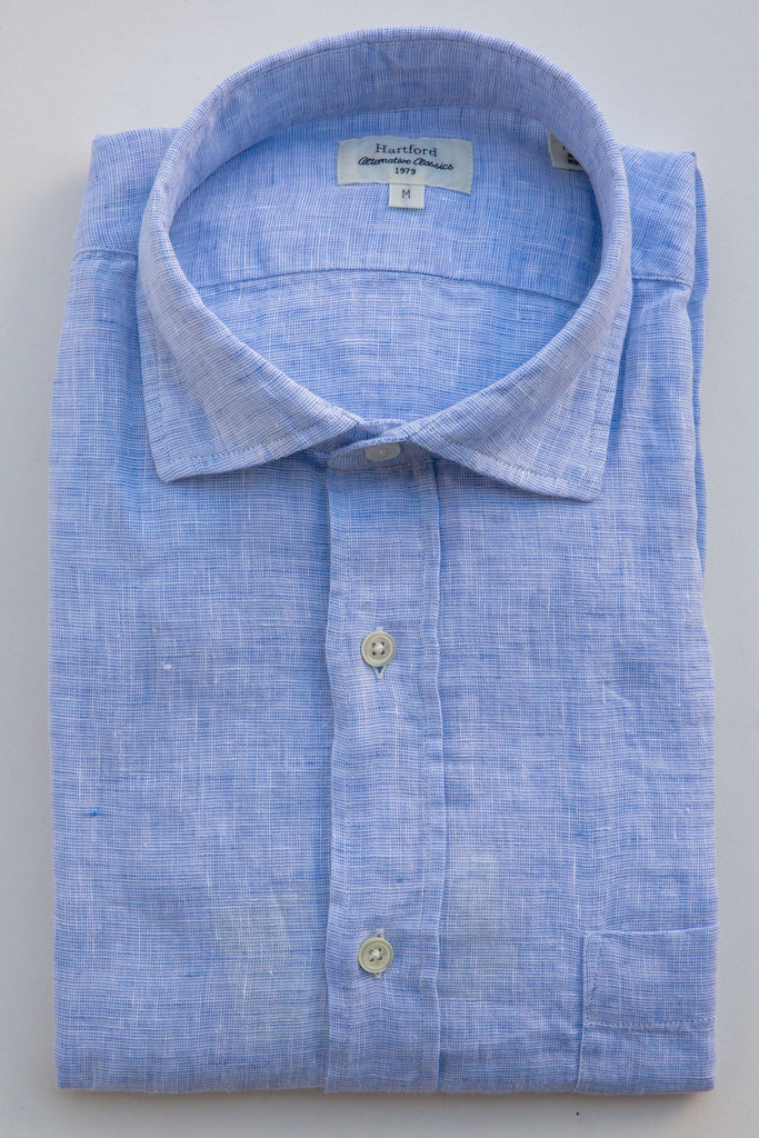 Hartford blue/white paul linen shirt
