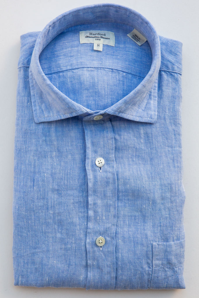 Hartford lt blue paul linen shirt
