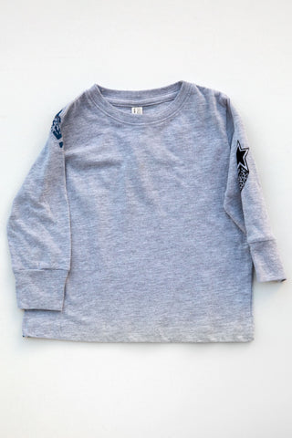 lucky fish heather grey nite skies l/s tee