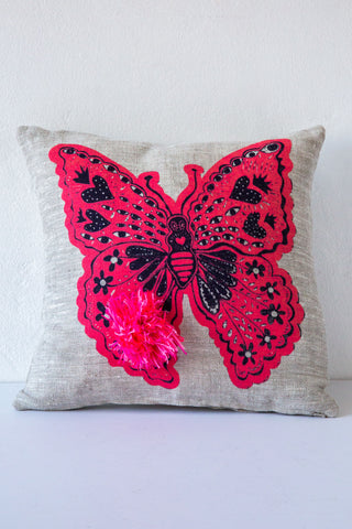 lucky fish monarch & pom pillow