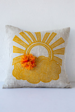 lucky fish sun & pom pillow