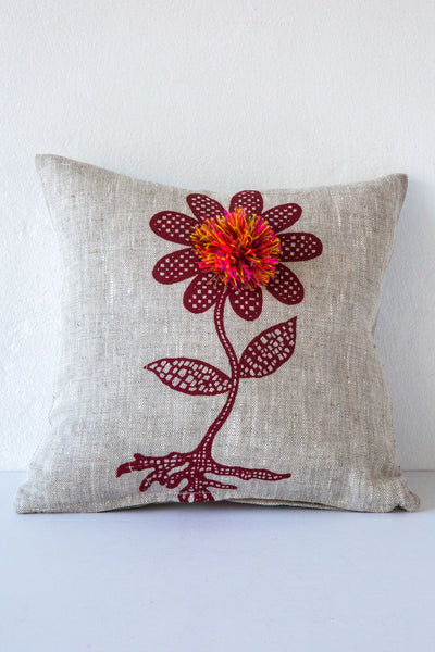lucky fish flower & pom pillow