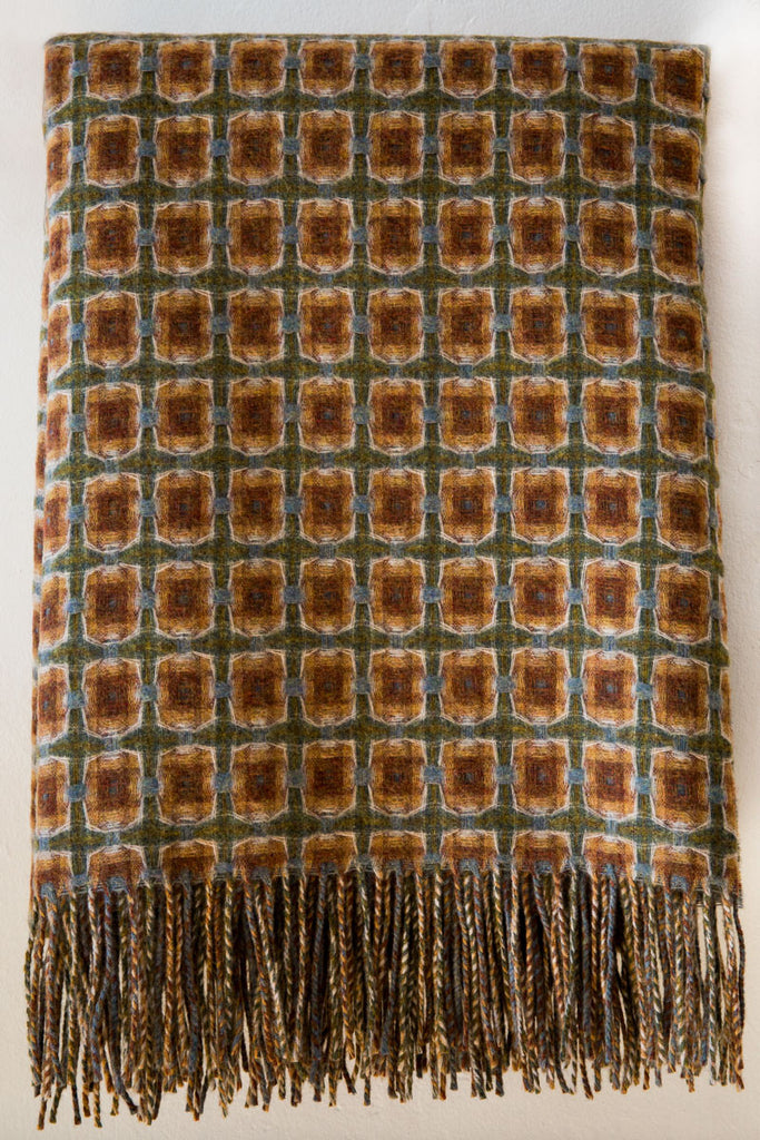 Paulette Rollo basket weave sage throw