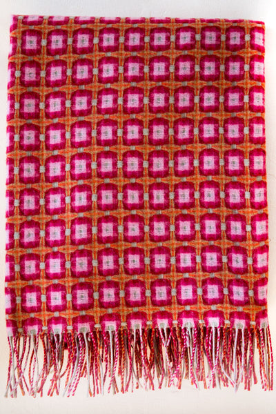 paulette rollo basket weave rasberry throw