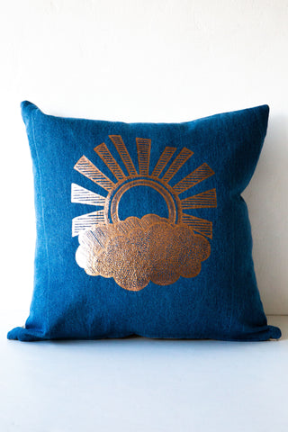 lucky fish sun day denim / linen pillow