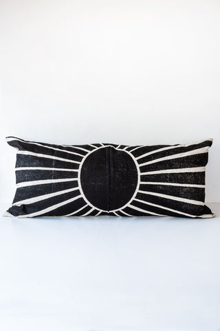 lucky fish black sunset lumbar pillow
