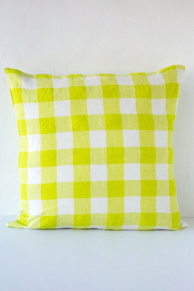 Society of Wanderers Lemoncello Gingham Check Pillow