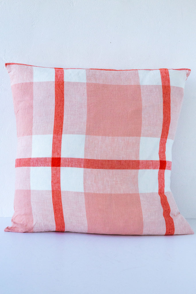 Society of Wanderers Orange/Pink Check Pillow