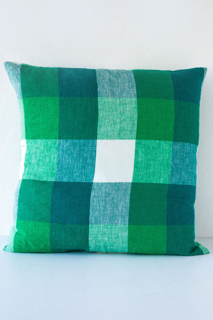 Society of Wanderers Apple Green Check Pillow