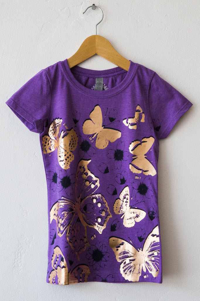 lucky fish purple butterflies tee