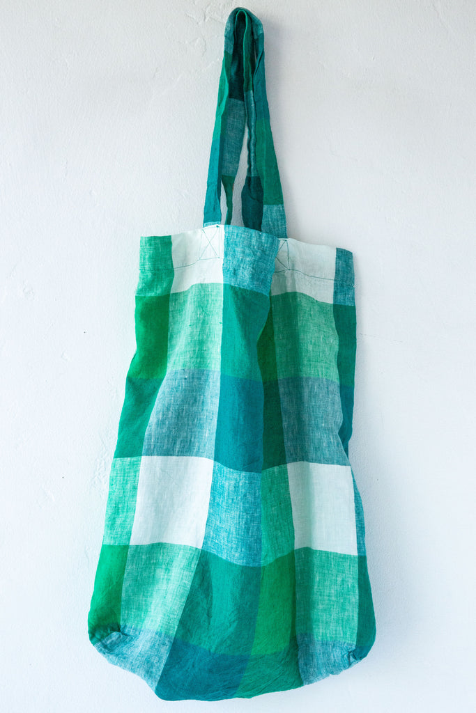 Society of Wanderers Apple Green Check Tote