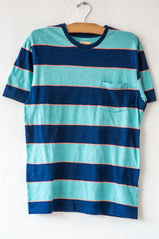 Bellerose Indigo/Green Wide Stripe Ano Tee