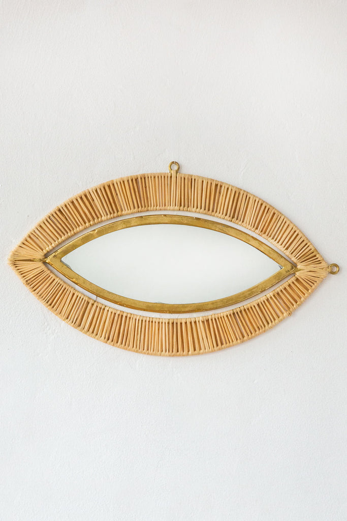 honore raffia small eye mirror