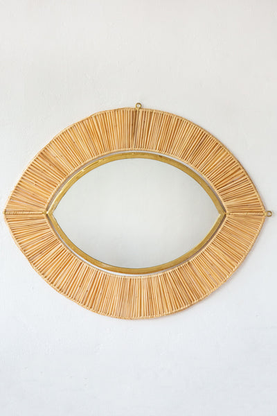 honore raffia large eye mirror