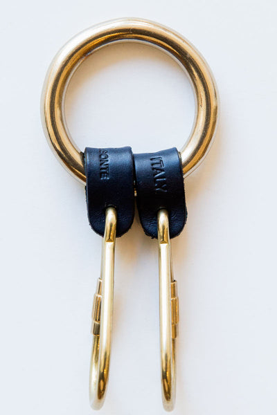 il bisonte navy double key ring