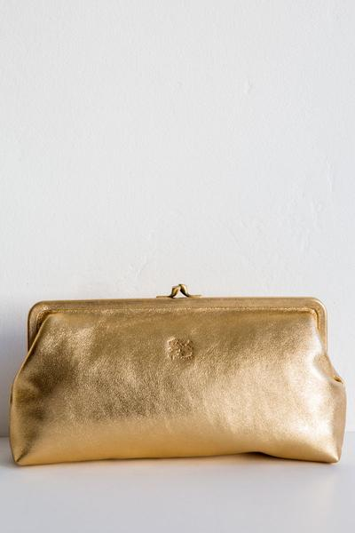 il bisonte gold donna clutch