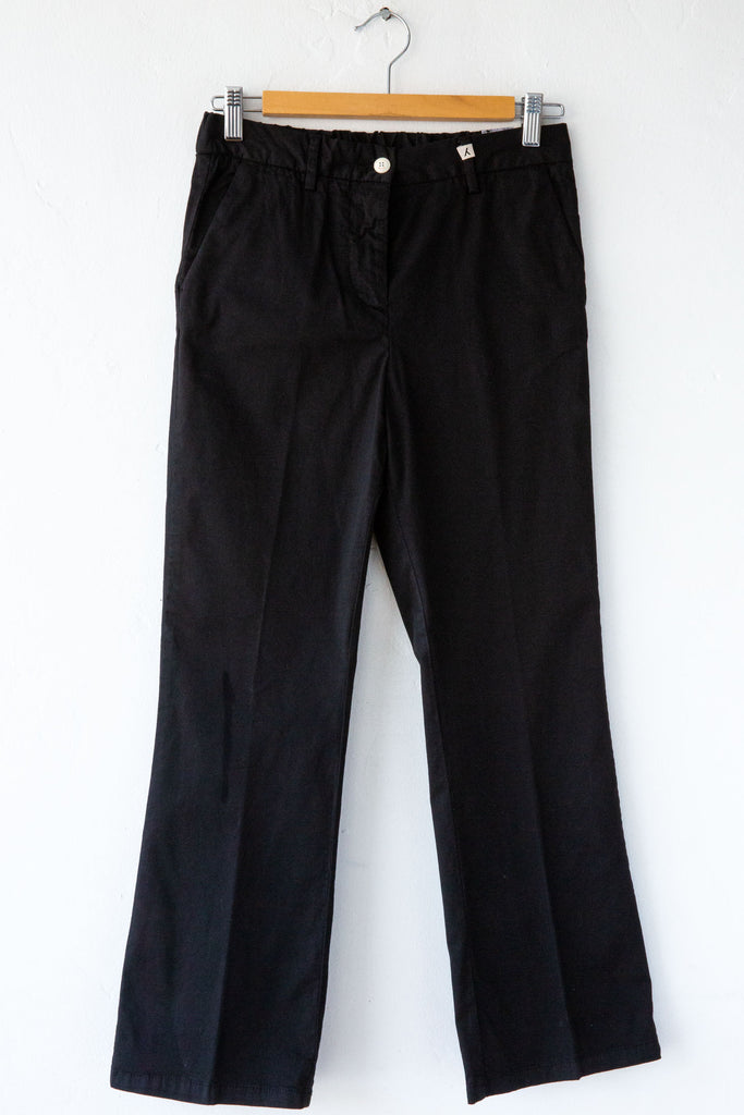 MYTHS Black Crop Flare Kick Fit Pant