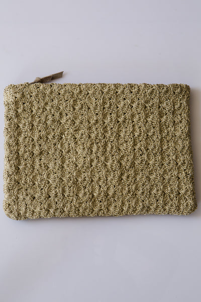 megan park metalic crochet clutch