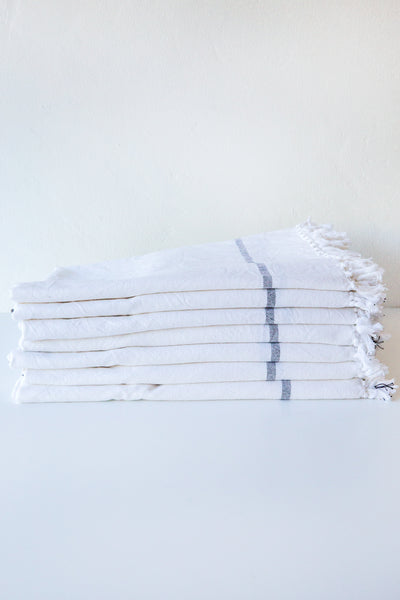 khadi & co white/charcoal stripe towel