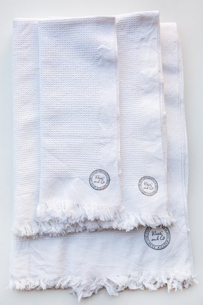 khadi & co white abeille honey comb towels