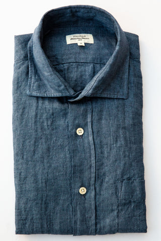 hartford denim blue linen paul shirt