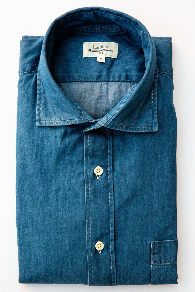 Hartford lt wt denim paul shirt
