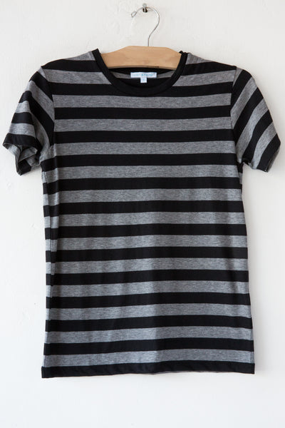 lost & found heather grey/black stripe small tee