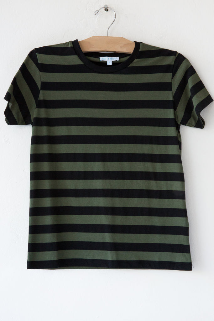 lost & found olive/black stripe small tee