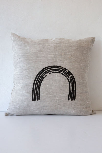 lucky fish black rainbow pillow