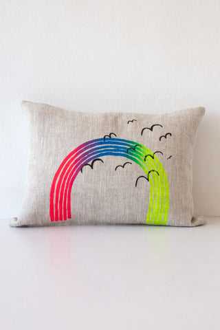 lucky fish neon rainbow pillow
