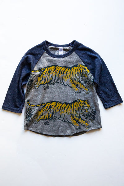 lucky fish grey leap tiger baseball tee