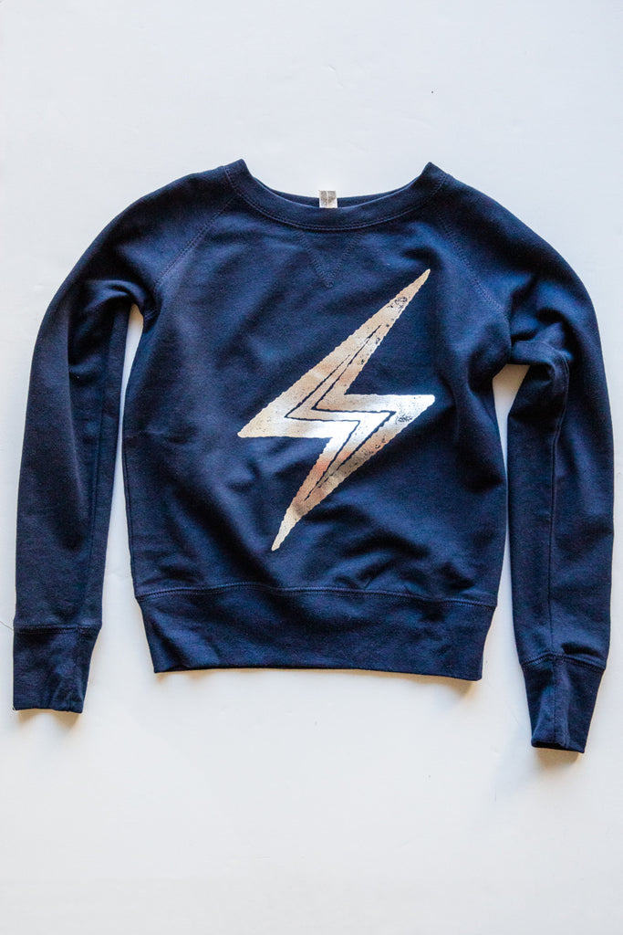 lucky fish navy bolt sweatshirt