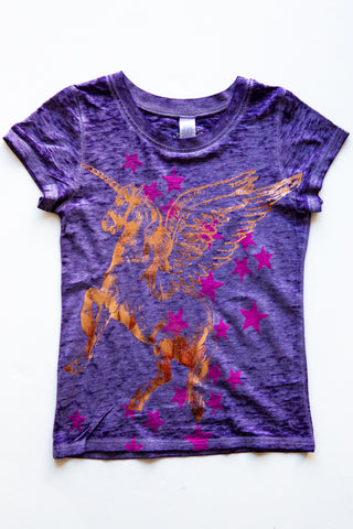 lucky fish purple unicorn tee