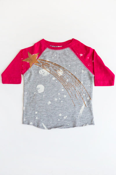lucky fish hot pink meteorite baseball tee