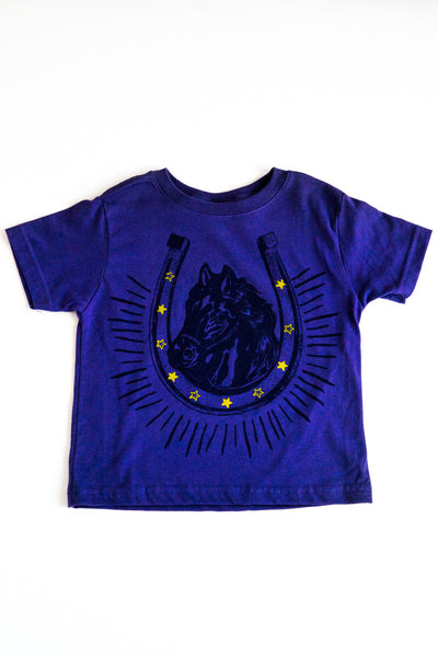 lucky fish purple horsey tee