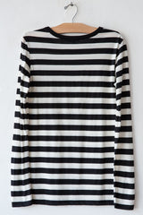 lost & found natural/black stripe long sleeve rib neck tee