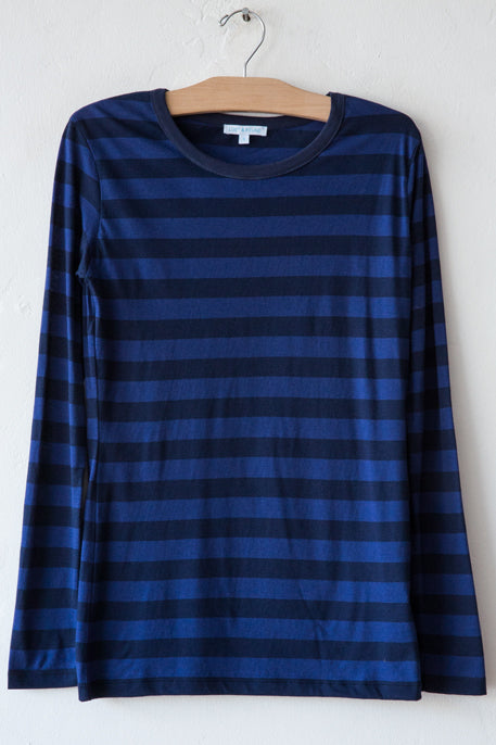 lost & found indigo/navy stripe long sleeve rib neck tee