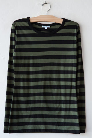 lost & found olive/black stripe long sleeve rib neck tee